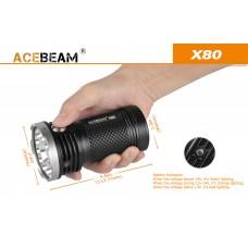 Мощный поисковый фонарь Acebeam X80-UV